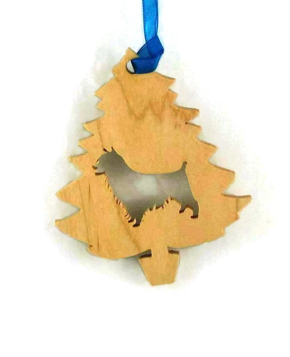 Australian Terrier Christmas Tree Ornament Handmade From Poplar Wood