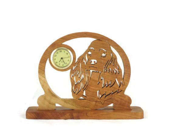Cocker Spaniel Dog Desk Clock Handmade From Cherry Wood 1-7/16 Quartz Clock Insert