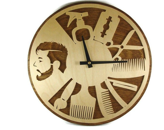 Hair Stylist Wall Hanging Clock Handmade From Birch Plywood By KevsKrafts