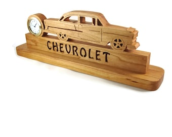 1955 Chevy Bel Air Desk Or Shelf Scroll Saw Clock Handmade From Cherry Wood By KevsKrafts