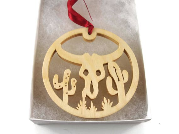 Texas Longhorn Western Themed Christmas Ornament Handmade From Birch Wood By KevsKrafts