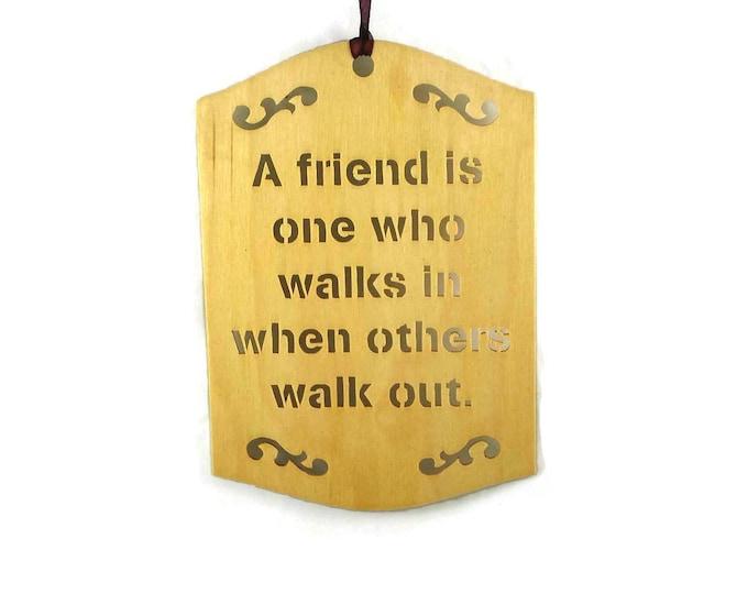 Friend Wall Hanging Plaque Handmade From Birch Wood