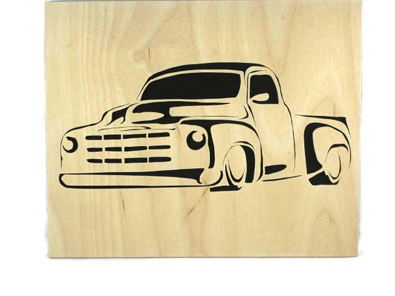 Vintage Truck 8 x 10 Wood Art Portrait Handmade From Birch Wood,
