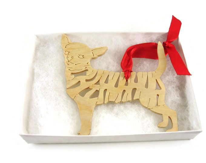 Chihuahua Christmas Tree Ornament Decoration Handmade From Birch Wood By KevsKrafts BN 7-2 R