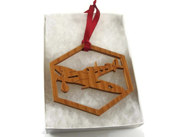 Military Airplane Christmas Ornament Handmade From Cherry Wood By KevsKrafts