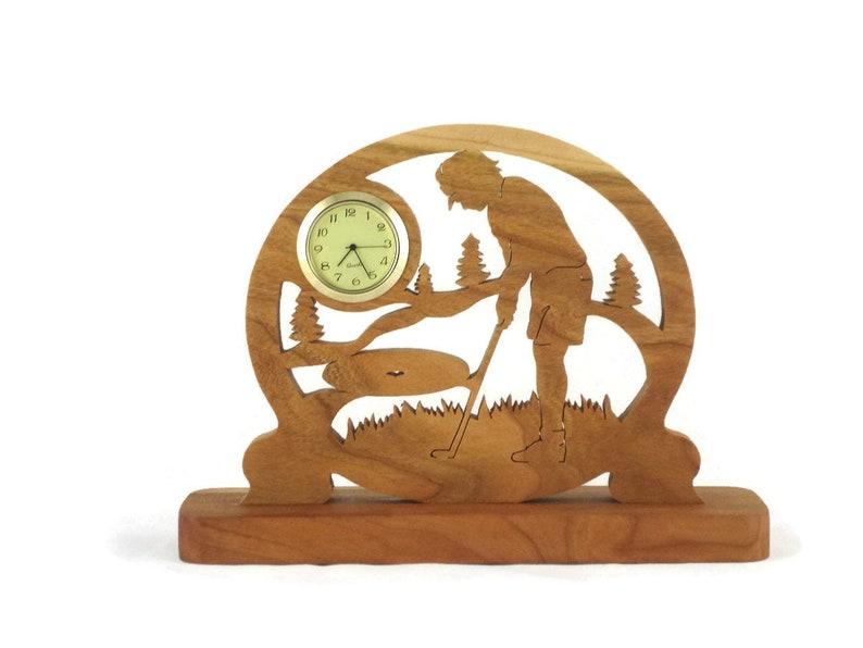 Female Golf Scene Desk Clock Handmade From Cherry Wood image 0
