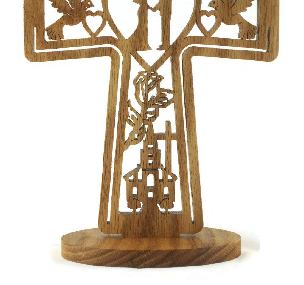 Wedding Gifts For Those Who Have Everything: Wedding Marriage Cross Handmade From Oak Wood, Church