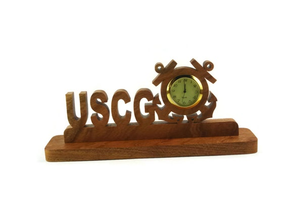 U.S. Coast Guard ( USCG ) Desk Or Shelf Clock Handmade From Cherry Wood By KevsKrafts BN-4