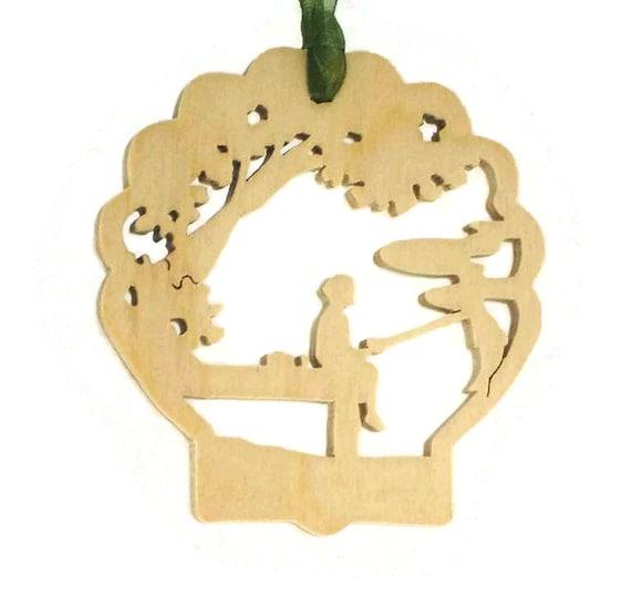 Dock Fishing Scene Christmas Ornament Handmade From Birch Plywood