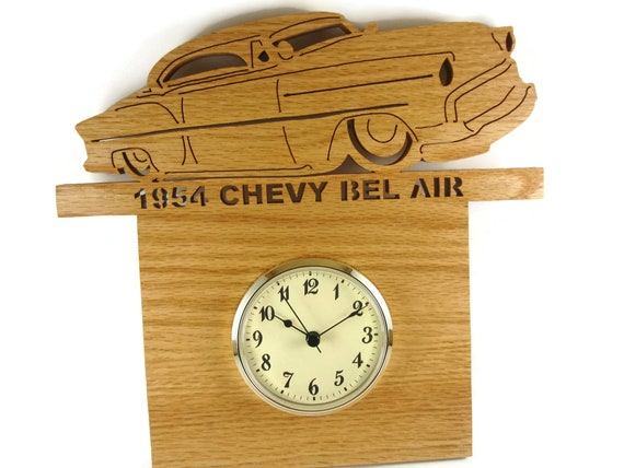 1954 Chevy Bel Air Wall Hanging Art Clock Handmade From Oak Wood By KevsKrafts