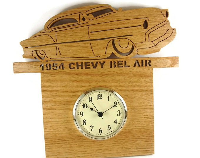 1954 Chevy Bel Air Wall Hanging Art Clock Handmade From Oak Wood By KevsKrafts
