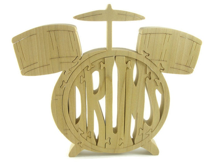 Wooden Drum Set Jigsaw Puzzle Handmade From Poplar Hardwood By KevsKrafts