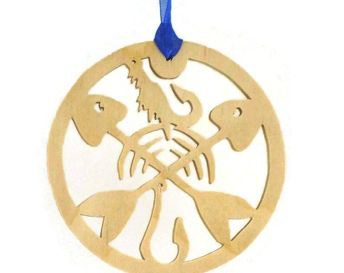 Fishing Lures With Fish Crossbones And Fish Hook Christmas Ornament Handmade From Birch Plywood