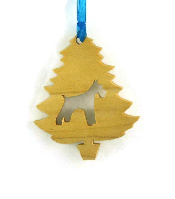 Schnauzer Christmas Ornament Handmade From Poplar Wood