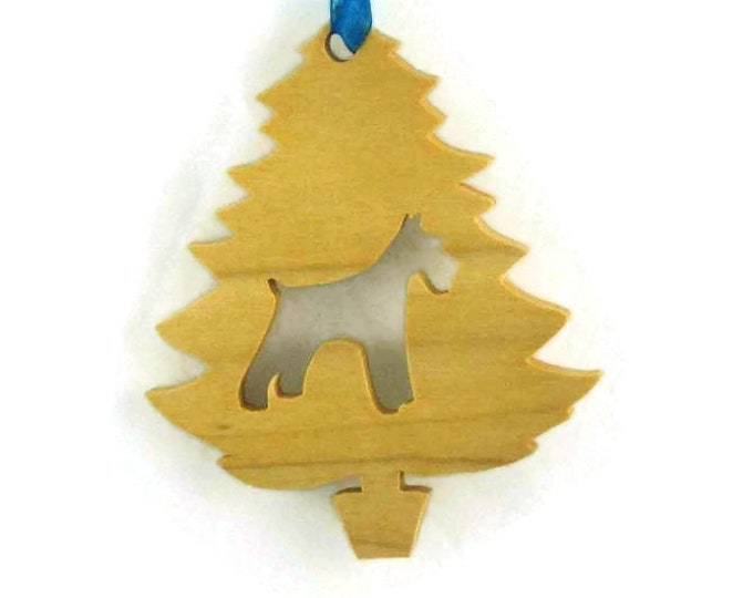 Schnauzer Christmas Ornament Handmade From Poplar Wood