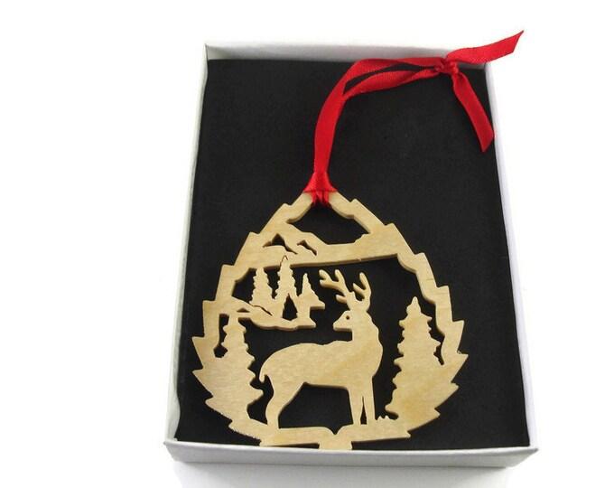 Deer Scene Christmas Ornament Handmade From Birch Wood By KevsKrafts BN-12