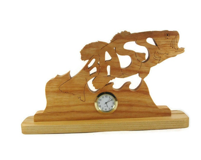 Bass Fish Desk Or Shelf Clock Handcrafted Using A Scroll Saw From Ash Wood by KevsKrafts