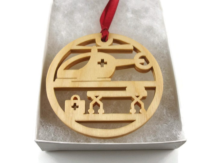 Flight Nurse EMS Helicopter Christmas Ornament Handmade From Birch Wood By KevsKrafts NB-3-4