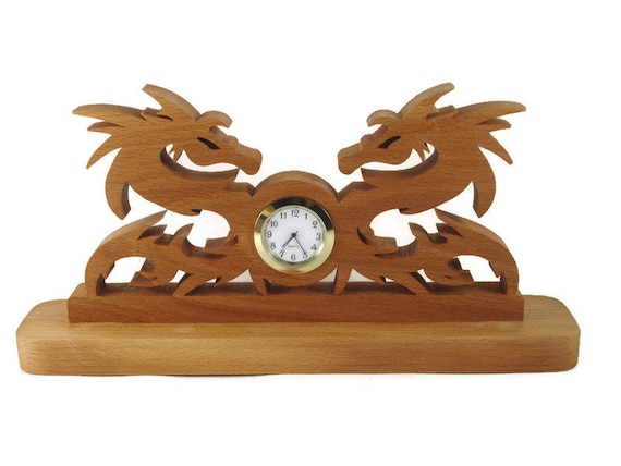 Dragon Desk Quartz Clock Handmade From Beech Wood By KevsKrafts
