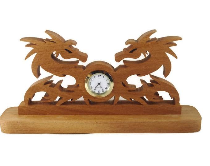 Dragon Desk Quartz Clock Handmade From Beech Wood By KevsKrafts