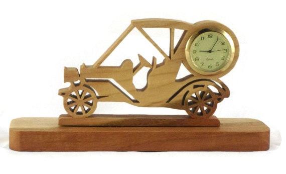 Golf Cart Mini Desk Clock Handmade From Cherry Wood With 1-7/16 Inch Quartz Clock