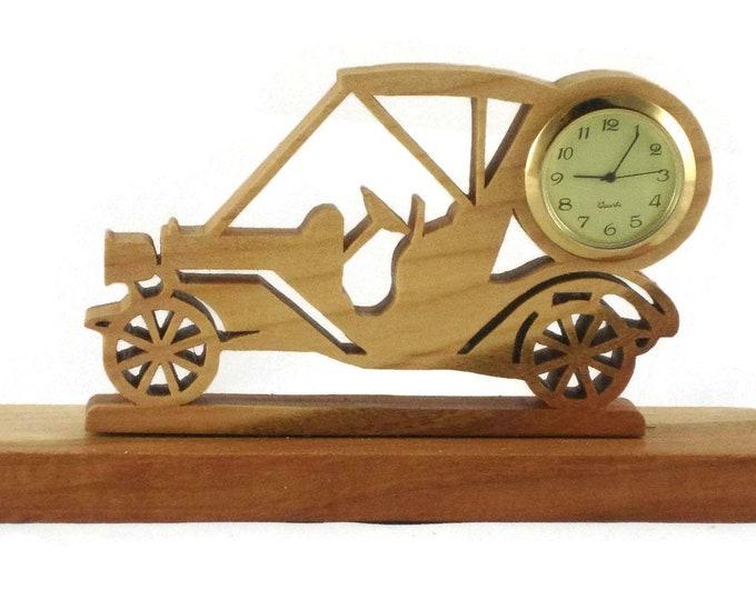 Golf Cart Mini Desk Clock Handmade From Cherry Wood With 1-7/16 Inch Quartz Clock