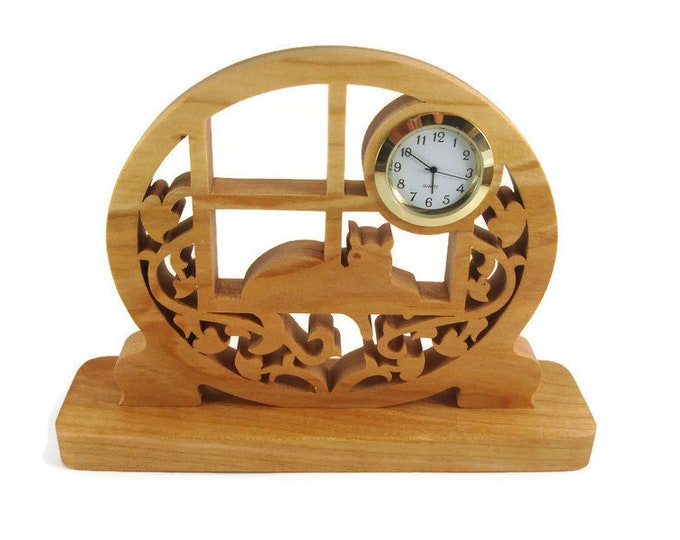 Cat In The Window Desk Or Shelf Clock Handmade From Cherry Wood By KevsKrafts