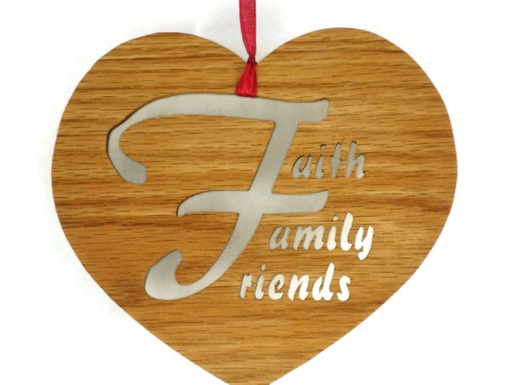 Faith Family & Friends Heart Shaped Wall Hanging Decor Handmade From Oak Wood