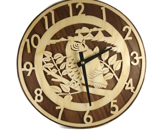 Owl Scene Wall Hanging Clock Handmade From Birch And Walnut Wood By KevsKrafts