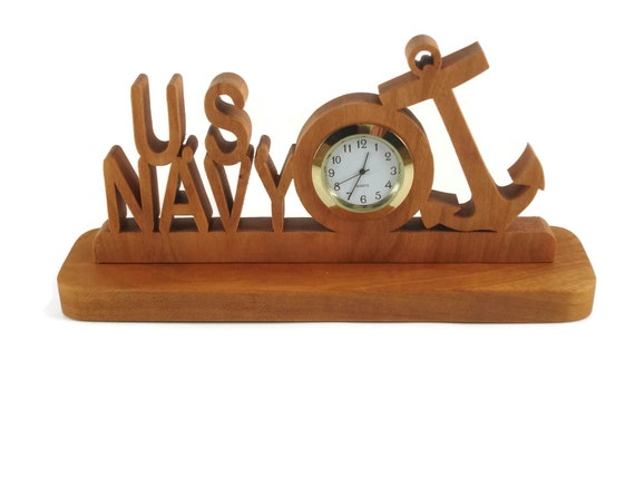U.S. Navy Military Desk Or Shelf Clock Handmade From Cherry Wood By KevsKrafts BN-4