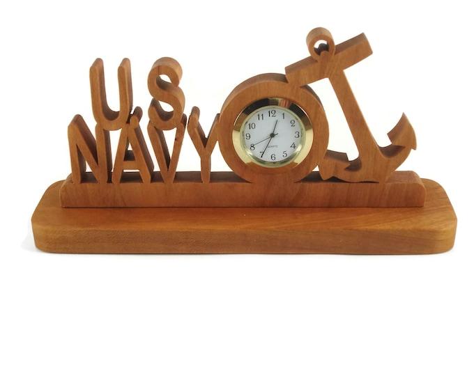 U.S. Navy Military Desk Or Shelf Clock Handmade From Cherry Wood By KevsKrafts BN-4