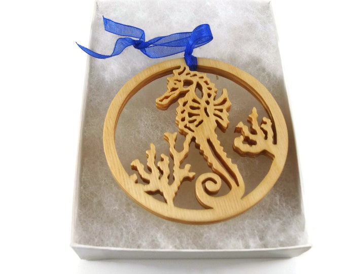 Sea Horse Christmas Ornament Handmade From Birch Wood By KevsKrafts NB-004 - M2