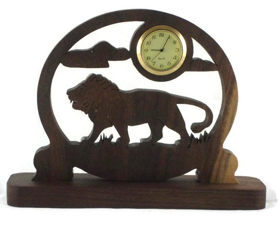 Lion Scene Desk Clock With Quartz 1-7/16 Clock Insert, Handmade From Walnut Wood