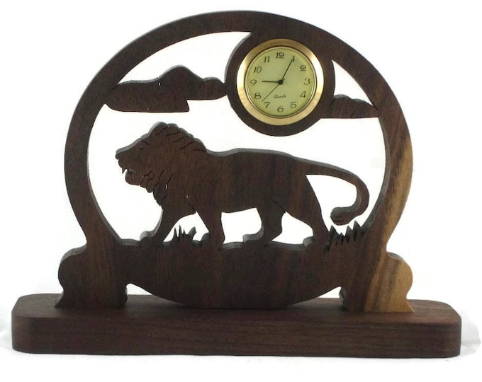 Lion Scene Desk Clock With Quartz 1-7/16 Clock Insert, Handmade From Walnut Wood