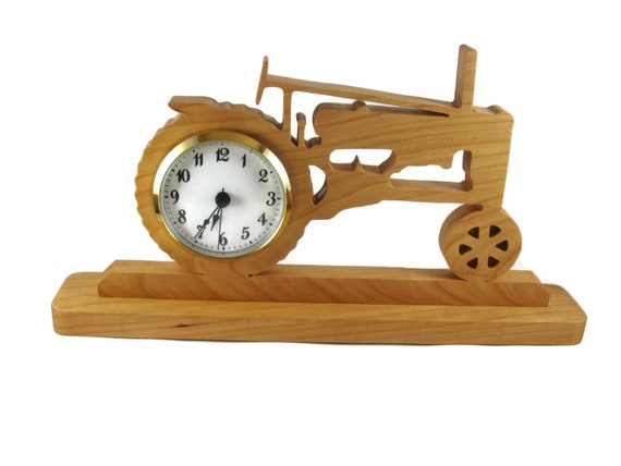Antique Style John Deere Tractor Desk / Shelf Clock Handmade From Cherry Wood, Johnny Popper, Farm Tractor
