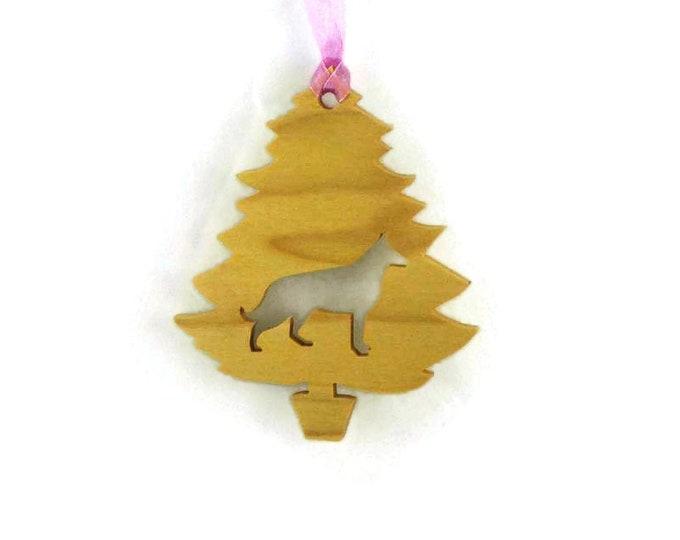 German Shepherd Christmas Tree Ornament Handmade From Poplar Wood, Alsatian Wolf Dog