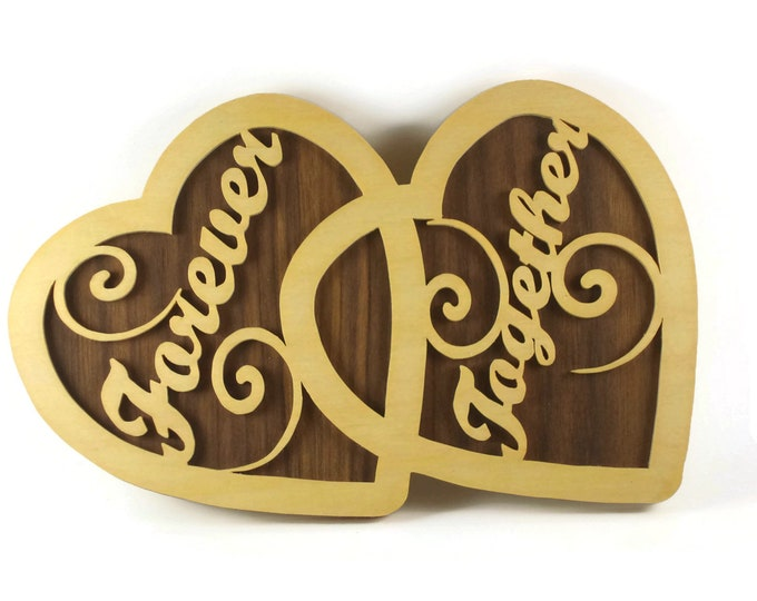 Forever Together Double Hearts Wall Decor Handmade From Walnut and Birch Ply By KevsKrafts