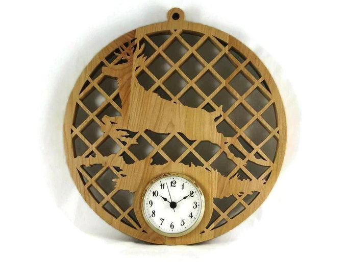 Deer Wall Hanging Clock Handmade From Maple Wood 2-3/4 Inch Clock Insert. Buck, Nature Scene, Decor, Mancave, Fathers Day, Gift For Men
