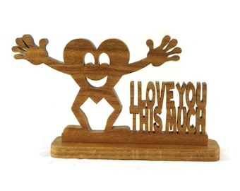 I Love You Heart Desktop Shelfsitter Handmade from Oak Wood