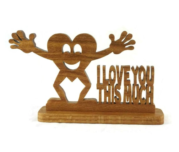 I Love You Heart Desktop Shelfsitter Handmade from Oak Wood
