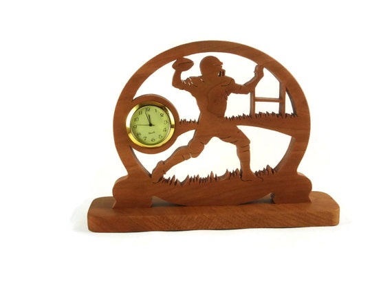 Football Player Desk Clock Handcrafted From Cherry Wood