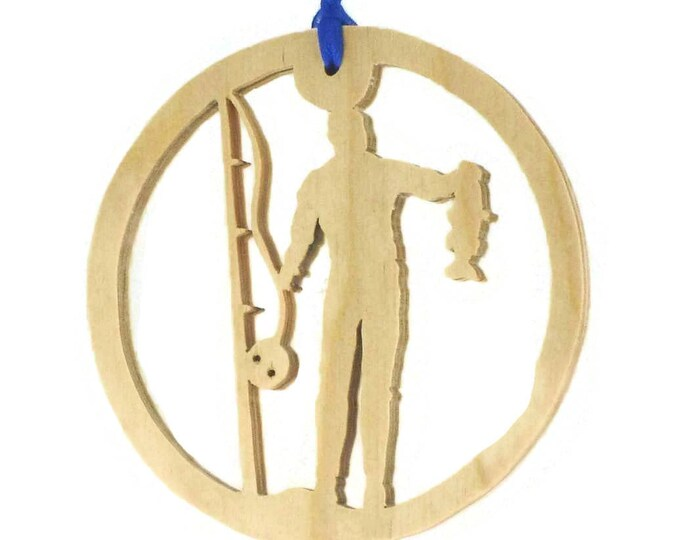 Catch Of The Day Fishing Christmas Ornament Handmade From Birch Plywood, NB-4-1