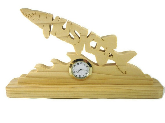 Muskie Fish Desk Or Shelf Clock Handmade From Poplar Wood By KevsKrafts