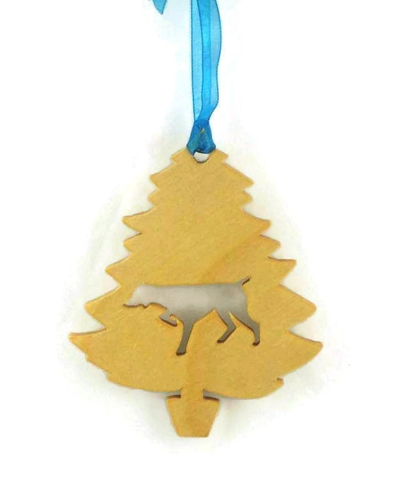 Pointer Dog Christmas Tree Ornament Handcrafted From Poplar Wood