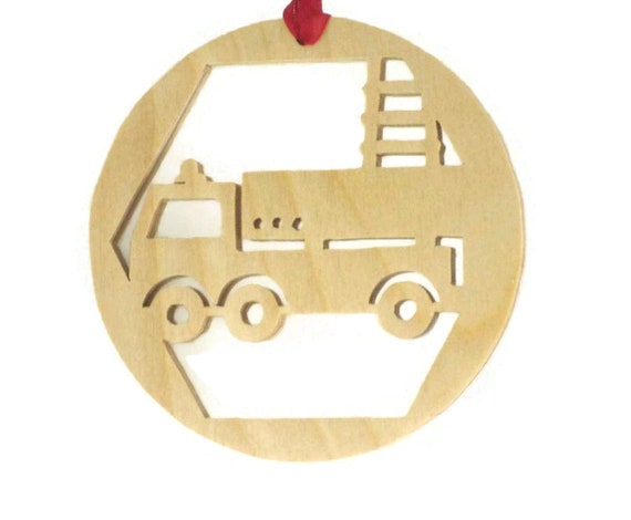 Firetruck Christmas Ornament Handmade From Birch Plywood, Fire Truck, Ladder Truck, Fireman Truck, BN-9