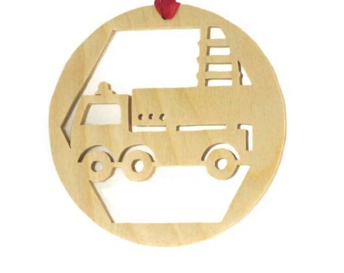 Firetruck Christmas Ornament Handmade From Birch Plywood, Fire Truck, Ladder Truck, Fireman Truck, BN-9