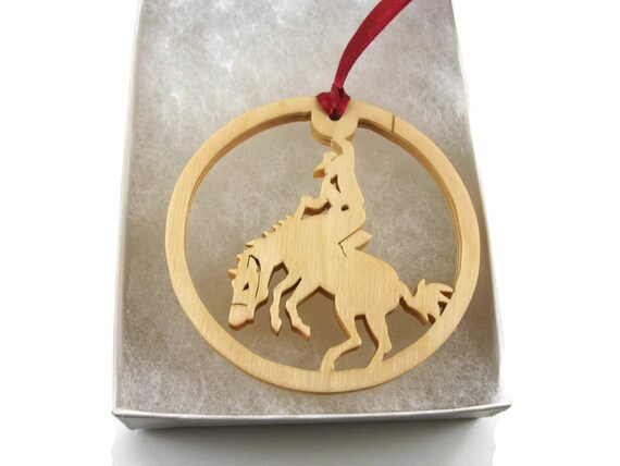 Cowboy Rodeo Christmas Ornament Handmade From Birch Wood By KevsKrafts