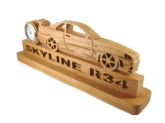 Nissan Skyline R-34 Desk Clock Handmade From Cherry Wood By KevsKrafts