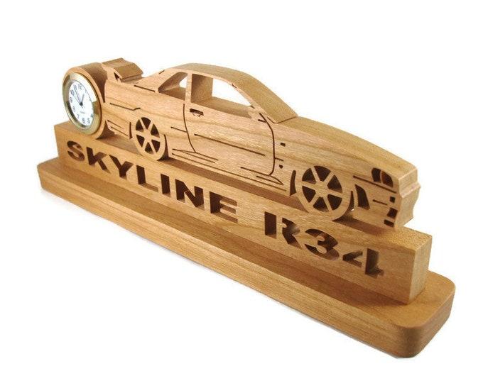 Nissan Skyline R-34 Desk Clock Handmade From Cherry Wood By KevsKrafts