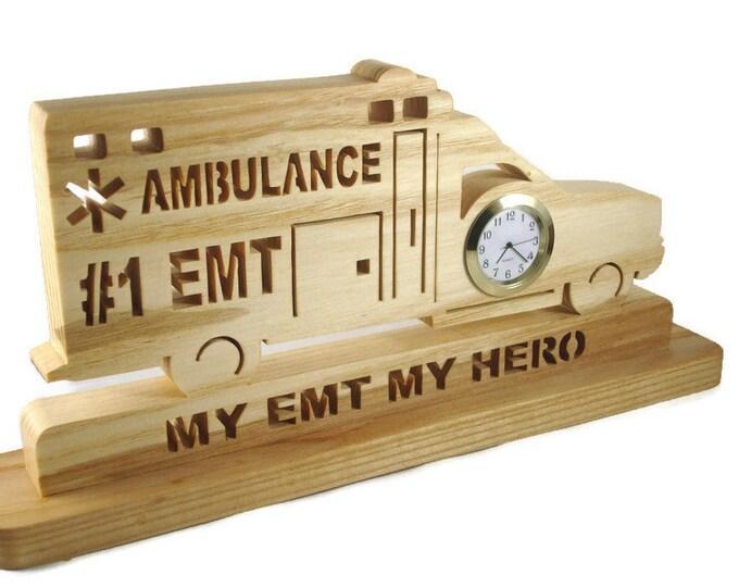 Ambulance EMT Desk Or Shelf Quartz Clock Handmade From Ash Wood By KevsKrafts